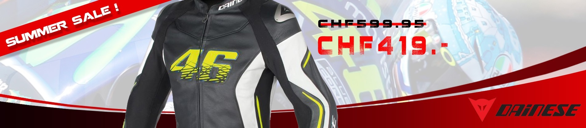 Dainese VR46 D2 Leather Jacket Summer Sale